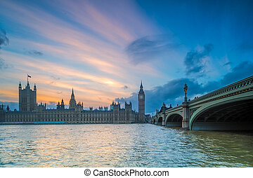 Blue Hour Sunrise at Big Ben House of Parliament and Westminster