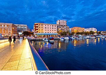 Blue hour Zadar waterfront view, Dalmatia, Croatia