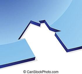Blue house 3D shape concept image with white copy space.