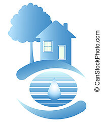 Blue house and a drop of water