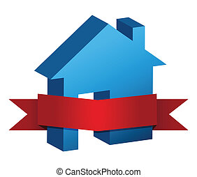 blue house and red banner illustration design over a white...