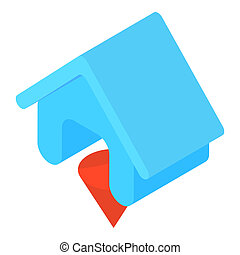 Blue house icon, cartoon style
