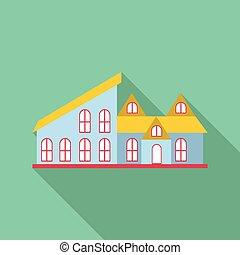 Blue house icon, flat style