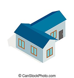 Blue house icon, isometric 3d style