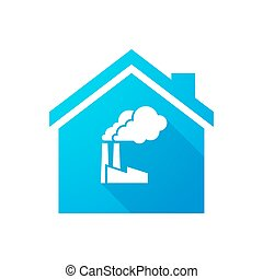 Blue house icon with a factory