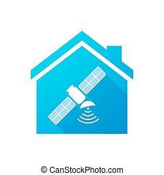 Blue house icon with a satellite