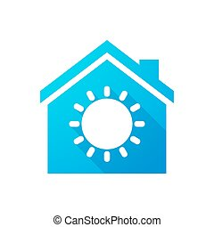Blue house icon with a sun