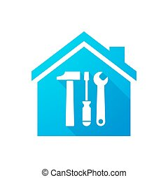 Blue house icon with a tool set