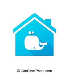 Blue house icon with a whale