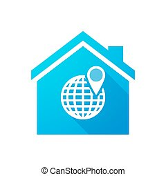 Blue house icon with a world globe
