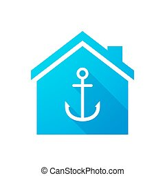 Blue house icon with an anchor