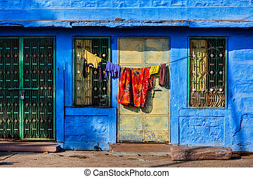 Blue house in Jodhpur, Rajasthan - Vivid blue-painted house...