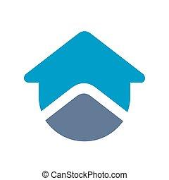 Blue house logo icon, creative home symbol design