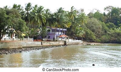 Blue house near the sea.