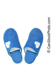 Blue house slippers isolated over white background