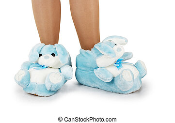 Blue house slippers on a white background