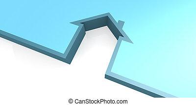 Blue house symbol isolated on white background