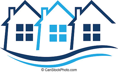 Blue houses for real estate identity card logo vector