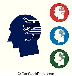 Blue Human brain as digital circuit board icon on white background. Artificial Intelligence. Human head outline with circuit lines inside. Set color icon in circle buttons. Vector Illustration