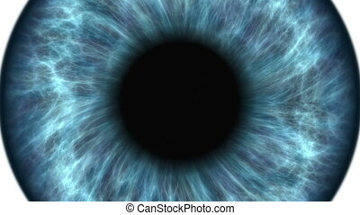Blue human eye dilating and contracting. Very detailed...