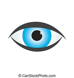 Blue human eye icon. Vector illustration.