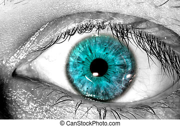 Blue human eye macro close-up texture background