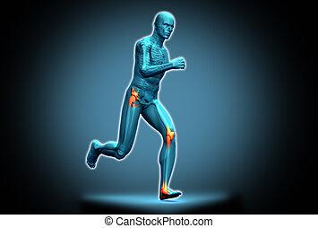 Blue human figure running