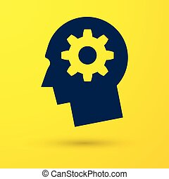 Blue Human head with gear inside icon isolated on yellow background. Artificial intelligence. Thinking brain sign. Symbol work of brain. Vector Illustration
