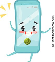 Blue humanized mobile phone with incoming call. Ringing smartphone. Cartoon character with happy face. Flat vector icon