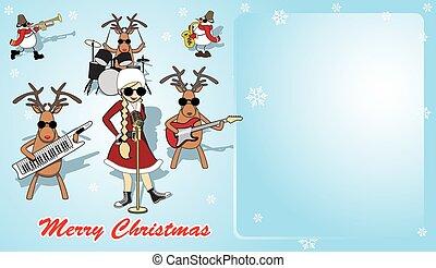 Blue humorous Christmas card