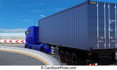 Blue hybrid truck driving on the highway. 3D rendering...