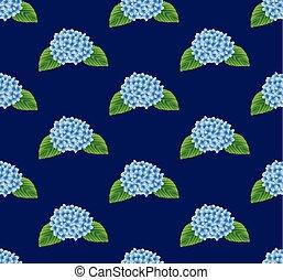 Blue Hydrangea Flower Seamless on Navy Background