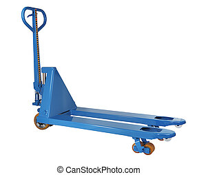 blue hydraulic hand pallet truck is