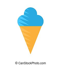 blue ice cream icon in a cone on a white isolated background. Vector image