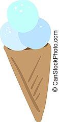 Blue ice cream, illustration, vector on white background.