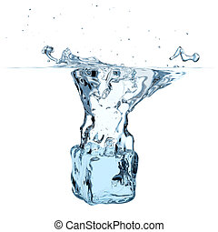 Blue ice cube dropped to water with splash isolated on white...