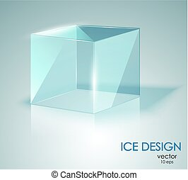 Blue ice cube. Glass Cube.
