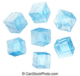 ice cube - blue ice cube isolated on a white. 3d ...