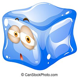Blue ice cube with face
