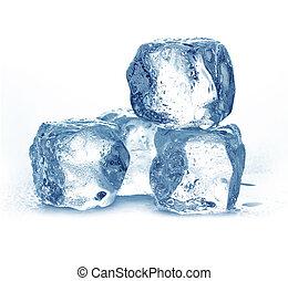 Blue ice cubes isolated on white background.