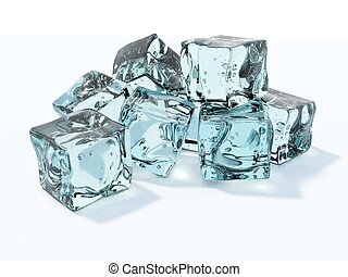 Blue ice cubes isolated on white