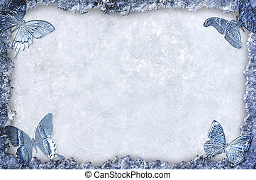 Blue ice framed background with butterflies