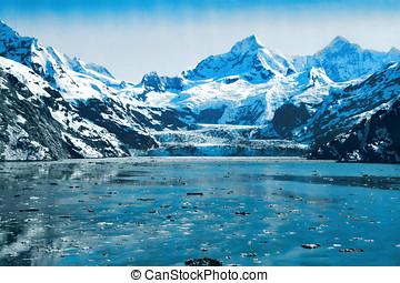 Glacier Bay, Alaska - Blue Ice Glaciers and waters in...