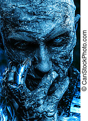 blue ice horror - Close-up portrait of a zombie man covered...