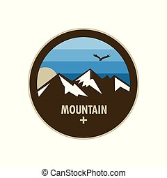 Blue Ice Mountain Adventure Circle Badge Design
