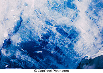 Blue ice texture. Abstract arctic winter background.