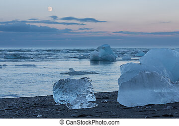 blue icebergs in the beach