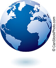 Simple blue earth icon in the modern gel style