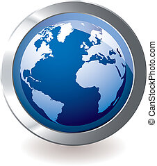 blue icon earth globe - Blue earth globe with silver metal...