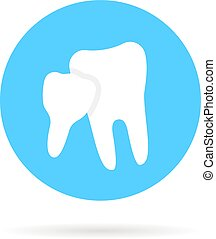 blue icon of family dentistry isolated on white background